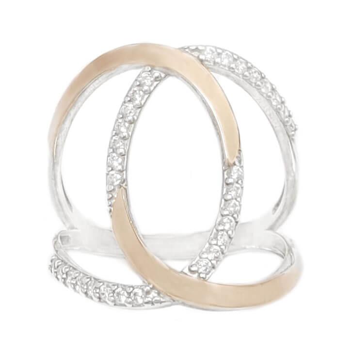 טבעת מכסף מצופה זהב 9K משובצת אבני זרקון  RG6085 | תכשיטי כסף | טבעות כסף