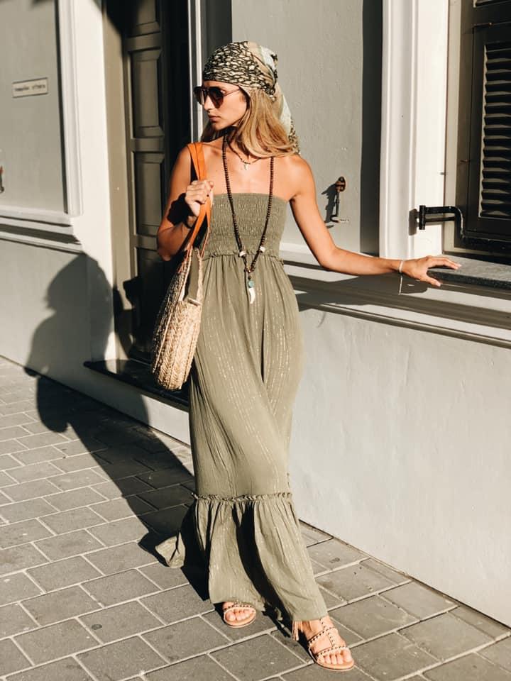 שמלת מקסי סטרפלס זית