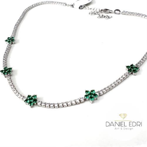 שרשרת צ'וקר פרחים ירוקים כסף 925