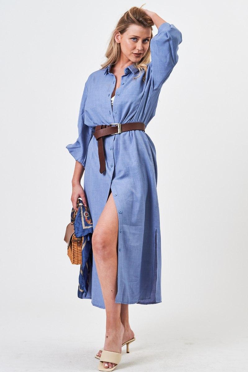 שמלת כפתורים טיאה כחולה