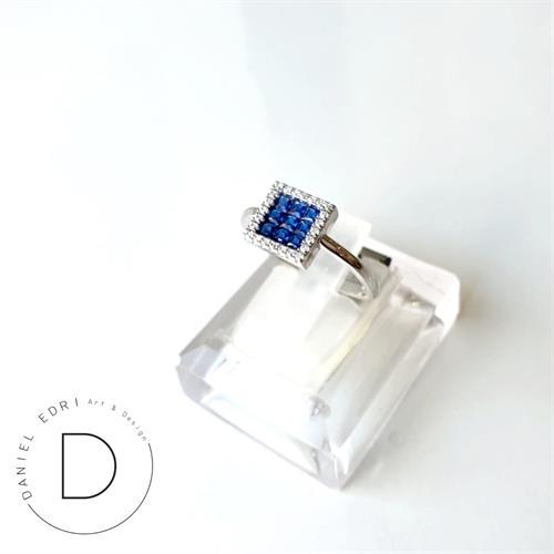 טבעת זרקונים ריבוע כחול- כסף 925