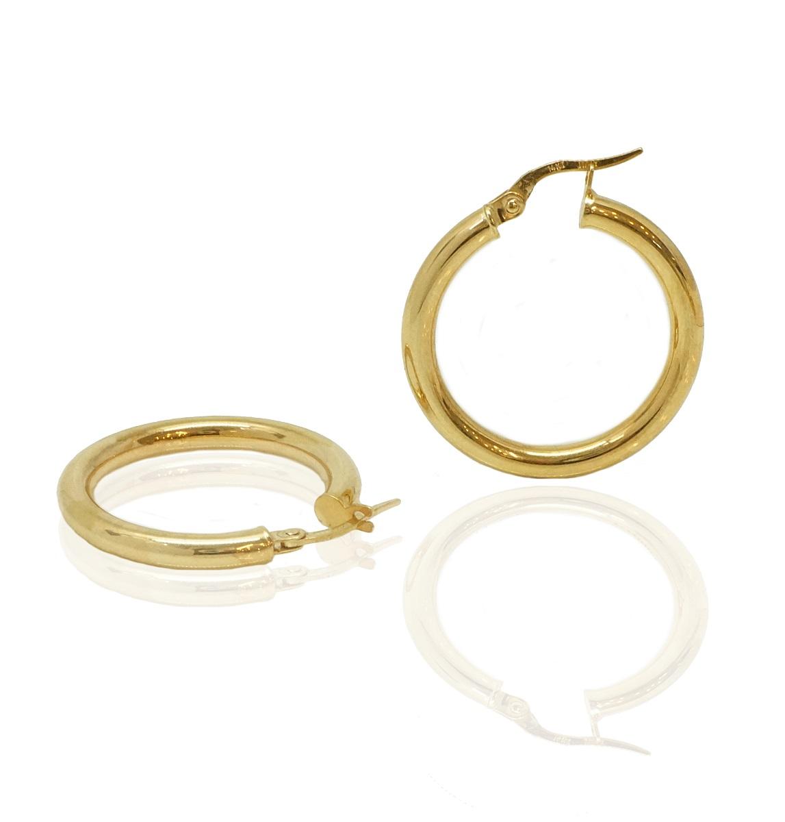 עגילי חישוק זהב חלקים בינוניים 2.6 סמ