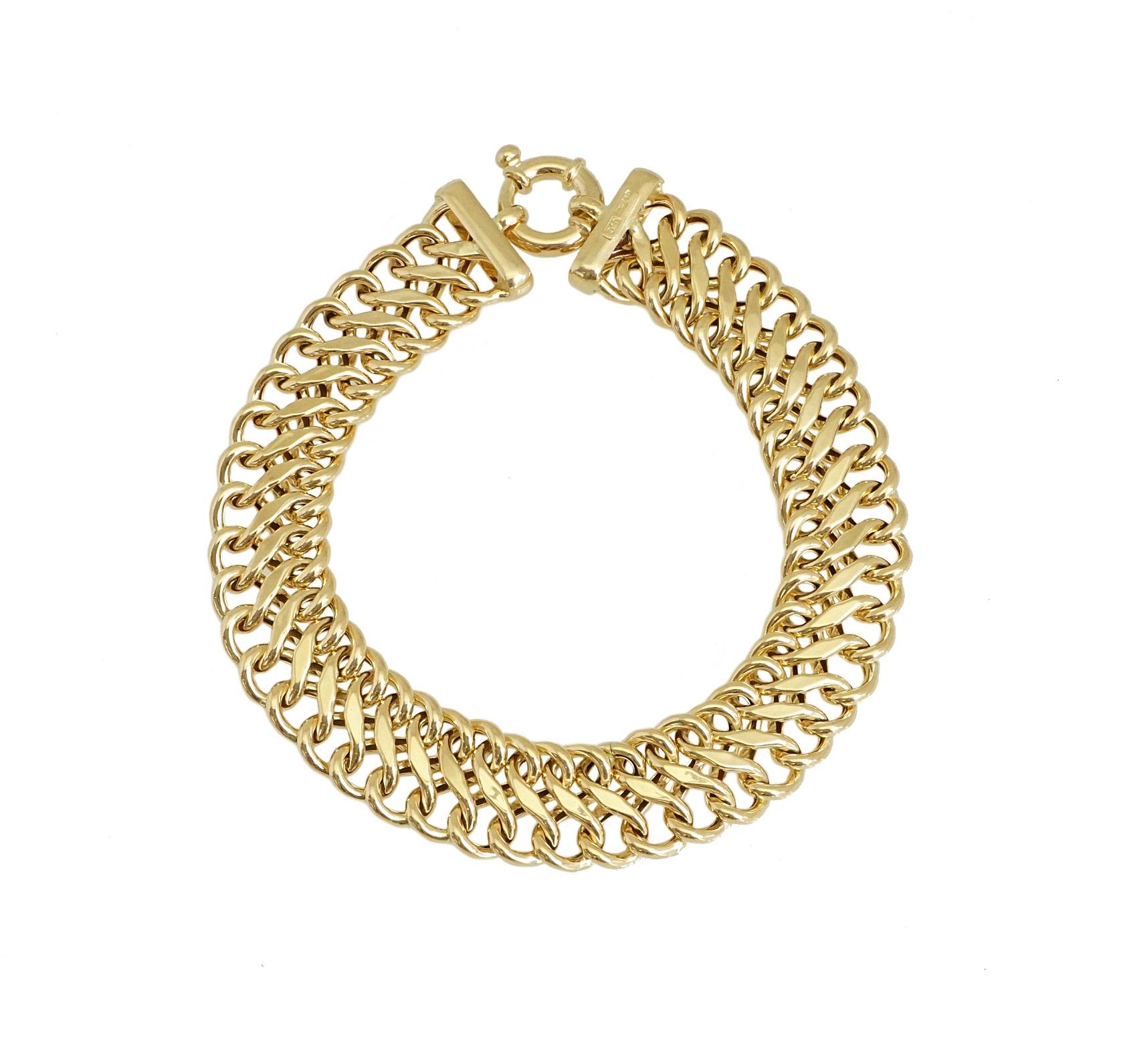 צמיד זהב חוליות לאישה|צמיד מיוחד רחב