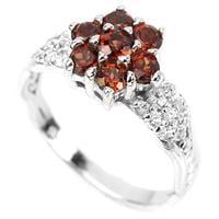 טבעת כסף משובצת גארנט אדום וזרקונים RG8352 | תכשיטי כסף | טבעות כסף
