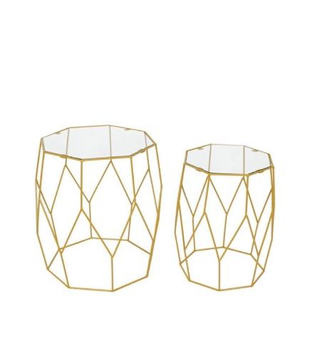 זוג שולחנות זהב פלוס זכוכית