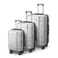 סט 3 מזוודות איכותיות SWISS  - צבע כסוף