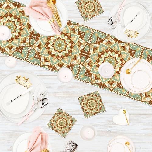 """סט חגיגי של ראנר מעוצב עם תחתיות פי וי סי בעיצוב מנדלות """"מנדלה מנטה קרם"""""""