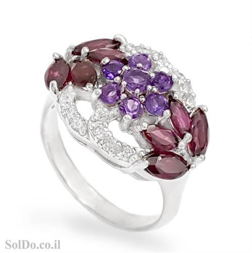 טבעת מכסף משובצת אבני גרנט ואבני אמטיסט RG6179 | תכשיטי כסף 925 | טבעות כסף