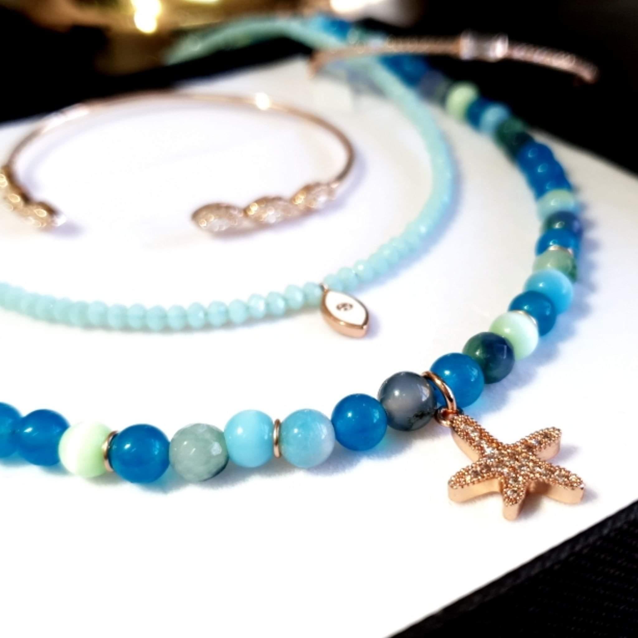 שרשרת חרוזים וכוכב ים- תכלת רוז גולד
