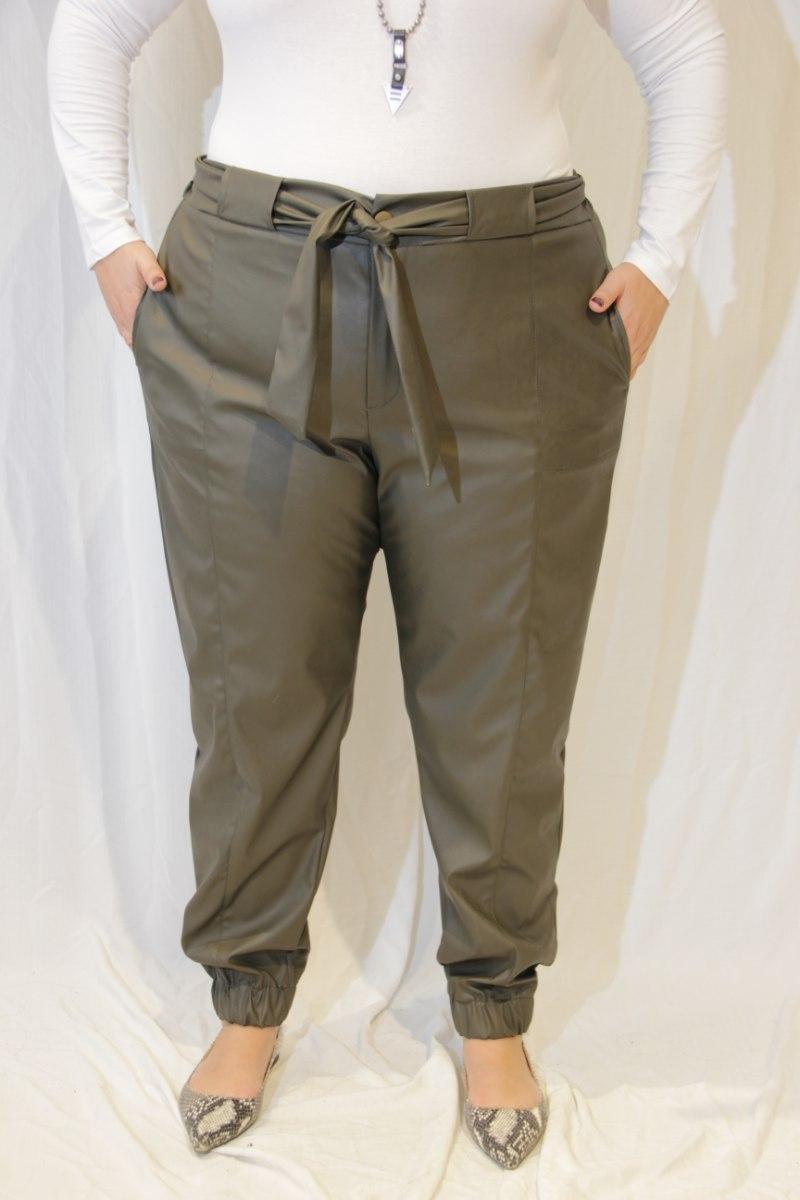 מכנסיי נורמן דמוי עור ירוק זית