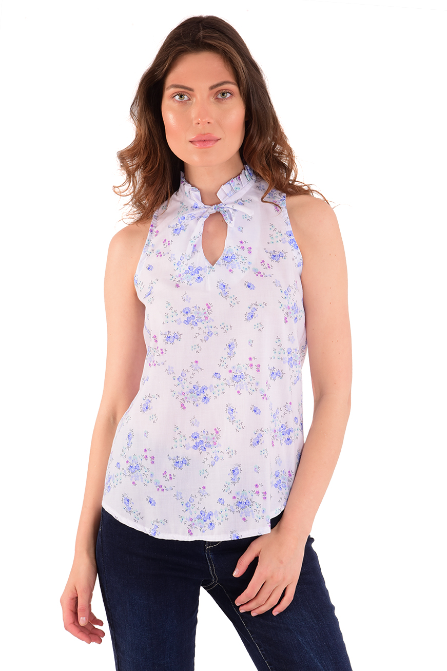 חולצת קייטלין לבן פרחים
