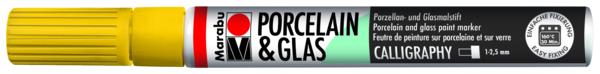 טוש לפורצלן וזכוכית 1-2 ממ - צהוב 220 MARABU CALLIGRAPHY