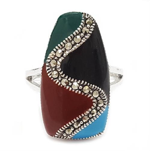 טבעת כסף משובצת מרקזטים ואמייל RG8572 | תכשיטי כסף 925 | טבעות כסף