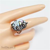 טבעת מכסף מעוצבת בשילוב צדף ירוק  RG6048 | תכשיטי כסף 925