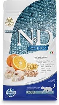 """N&D נטורל דלישס לחתול בוגר על בסיס  דג הרינג דגנים ותפוז 1.5 ק""""ג"""