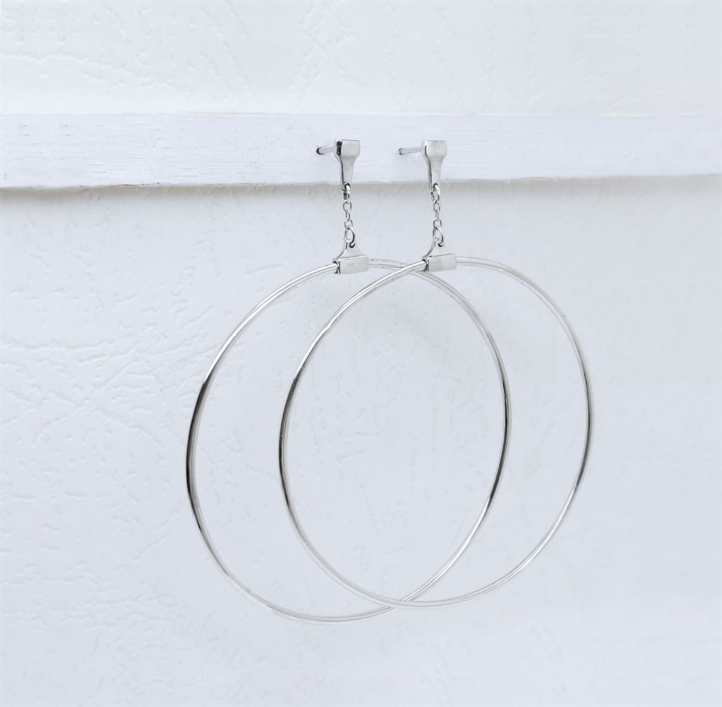 עגילי Swinging Hoop כסף