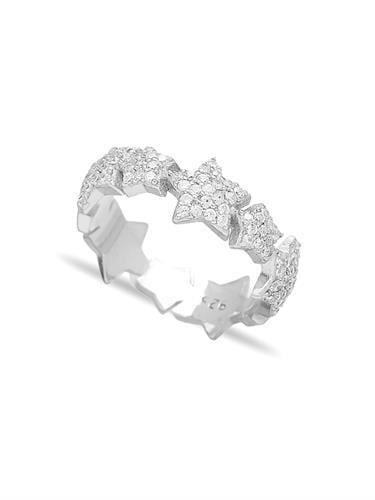 טבעת כוכבים משובצים