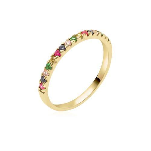 טבעת זהב עם זרוקנים צבעוניות|טבעת זהב משלימה