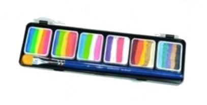 פלטה 6 צבעי מים ריינבו #1 + מכחול (36 גר')
