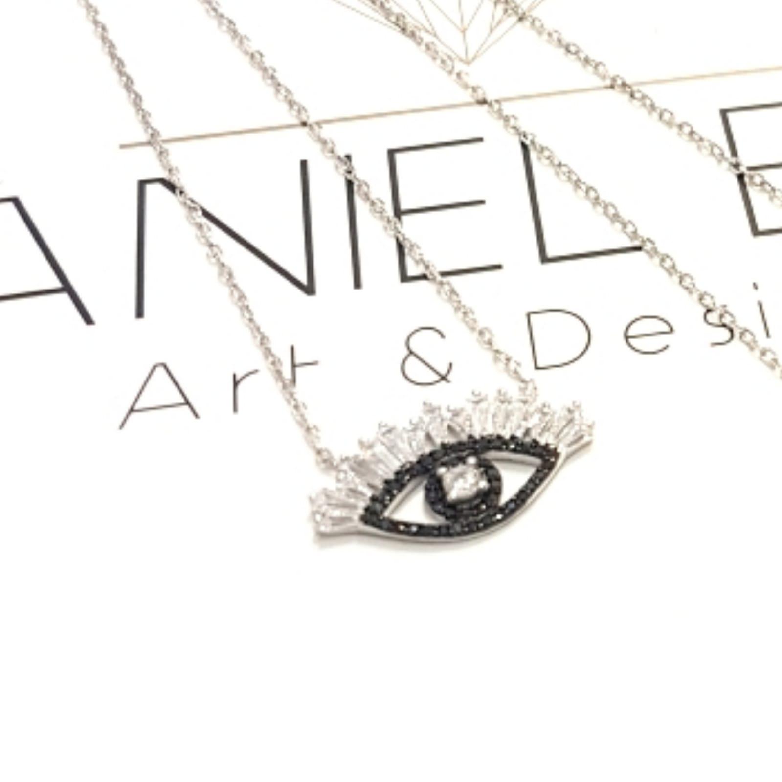 שרשרת עין ריסים שחור -כסף 925