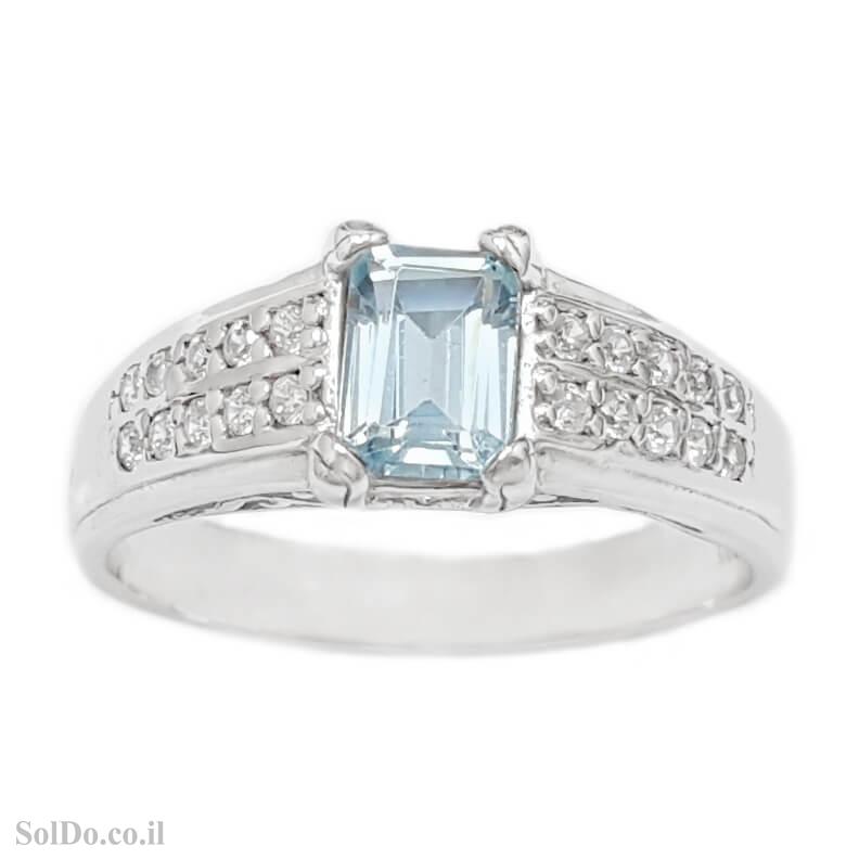 טבעת מכסף משובצת אבן טופז כחולה וזרקונים RG6128 | תכשיטי כסף 925 | טבעות כסף