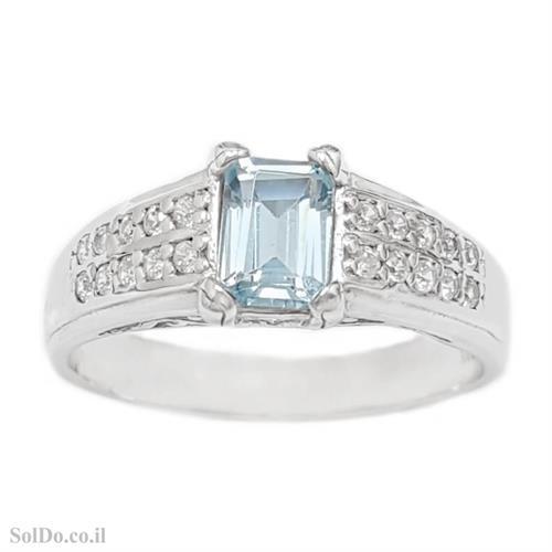 טבעת מכסף משובצת אבן טופז כחולה וזרקונים RG6128   תכשיטי כסף 925   טבעות כסף