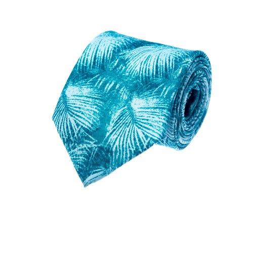 עניבה דגם נוצות בגווני תכלת מנטה