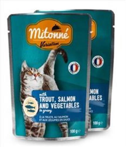 פאוץ' לחתול מיטונה פורל, סלמון וירקות ברוטב MITONNE 100 גרם