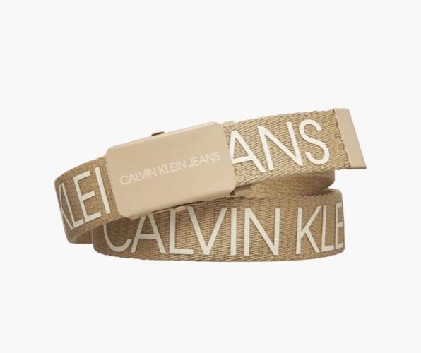 חגורה זהב כיתוב לבן CALVIN KLEIN - מידות S-XL