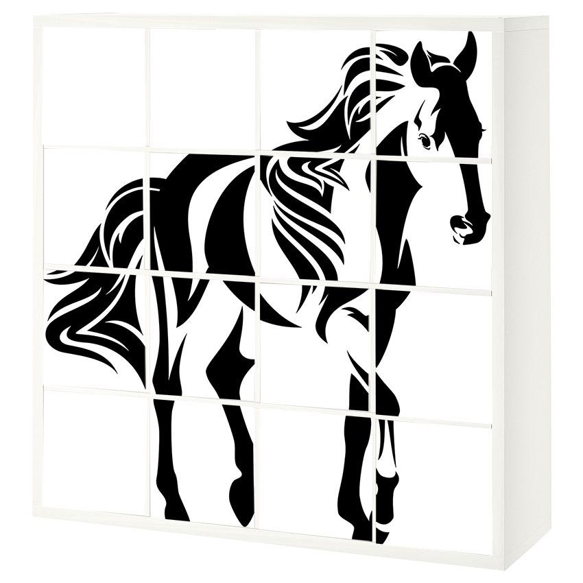 16 יח' טפט להדבקה על דלת כוורת  (KALLAX)- סוס שחור לבן