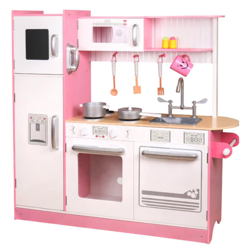 W10C382B- מטבח עץ מודרני גדול ומפואר בצבעי ורוד ולבן, צעצועץ