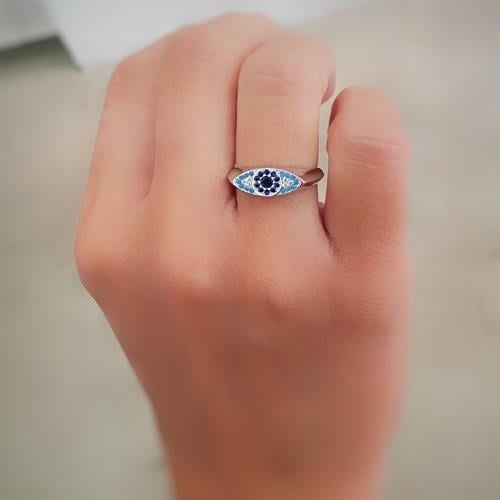 טבעת עין גווני כחול