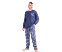 פיג'מה לגבר דגם 001 משבצות כחול