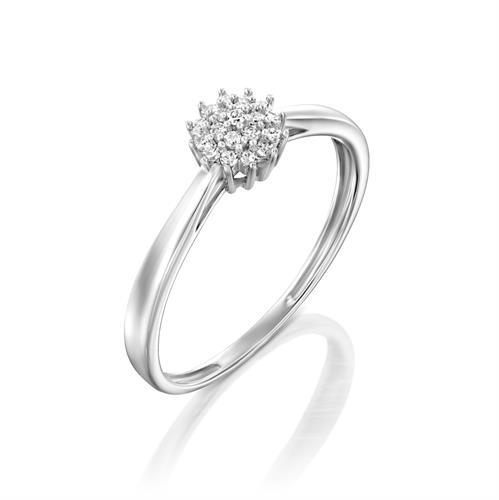 טבעת חלום של יהלום משובצת יהלומים בזהב לבן 14 קראט