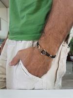 צמיד עוגן לגבר קלוע ׁ(עור סרוג)ומשולב בזהב 14 קרט