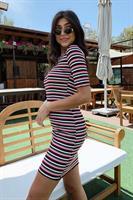 שמלת פסים מייקי אדום-שחור-לבן