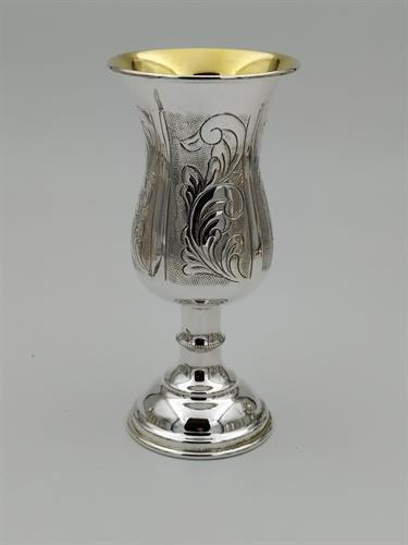 גביע קידוש כסף טהור דגם עיטורים