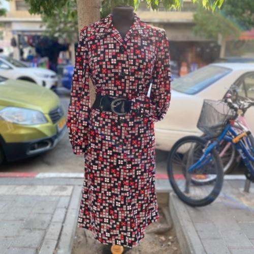 שמלת וינטג׳ פרחונית מיוחדת עם שרוולים ארוכים S/M