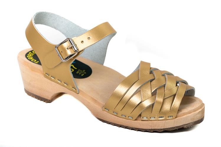 סנדלי עץ נשים רצועות עקב נמוך זהב מט