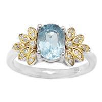 טבעת מכסף משובצת אבן טופז כחולה, אבני זרקון וציפוי גולדפילד RG6110 | תכשיטי כסף 925 | טבעות כסף