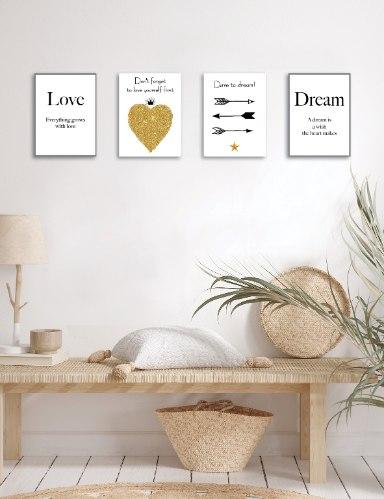 רביעיית תמונות השראה חיצים ש/ל, תחלמו, לב זהב ואהבה, דגם 7