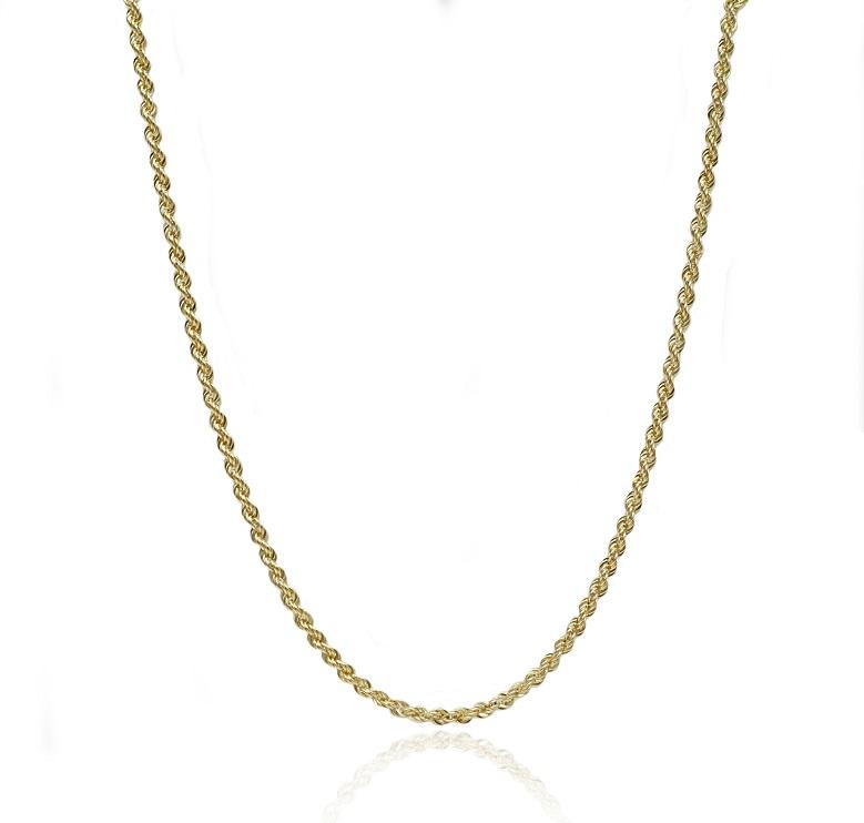 שרשרת חבל לגבר │ שרשרת זהב לגבר 55 סמ │ רוחב 2.2 ממ