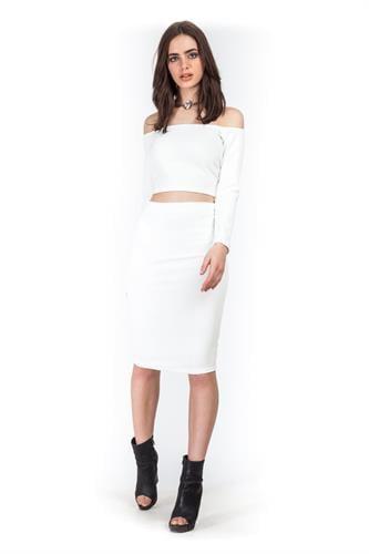 חצאית אודרי לבנה