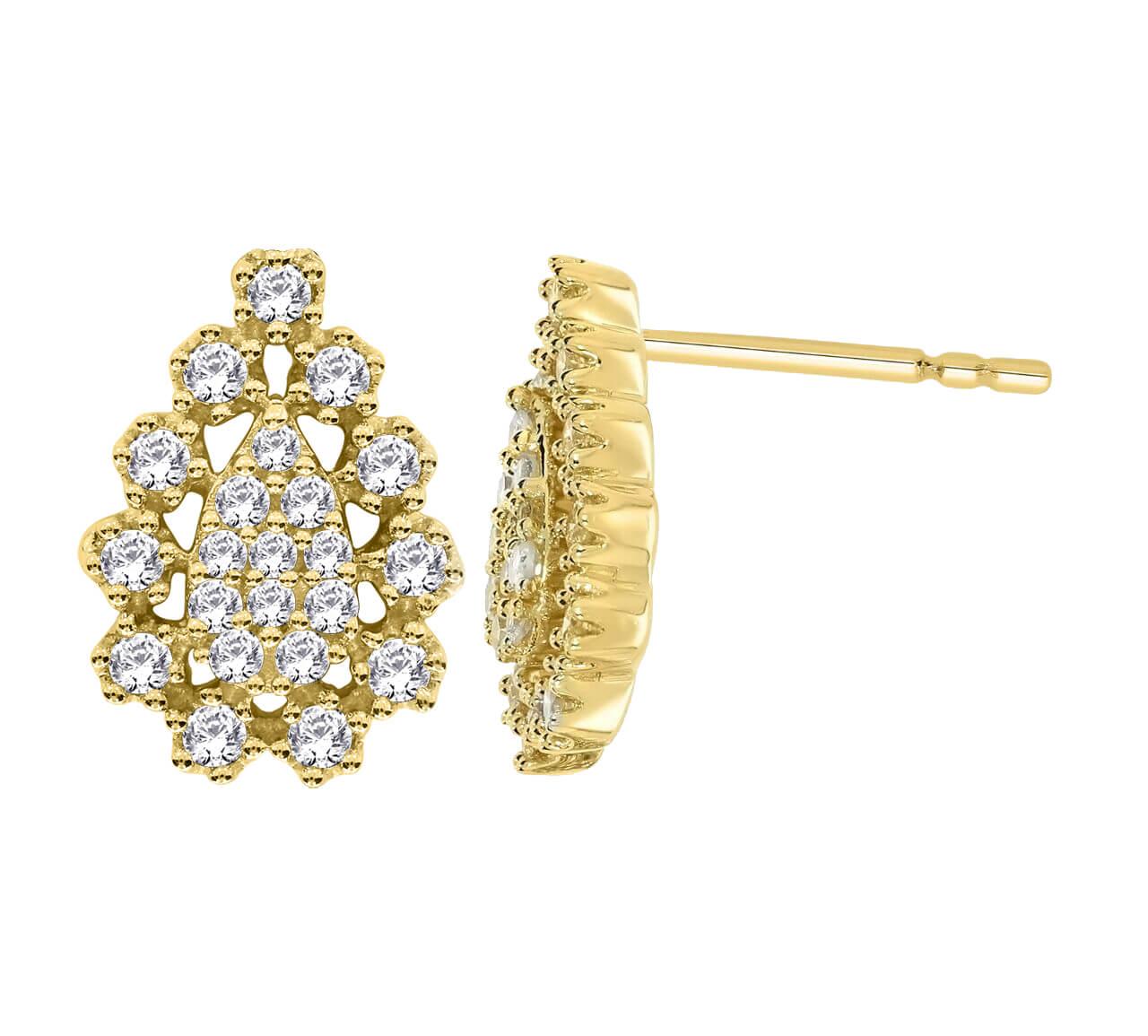 עגילי זהב צהוב 14 קראט משובצים יהלומים