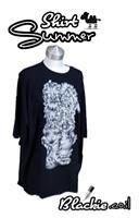 חולצה שחורה לקיץ הדפס גראפי ארבע