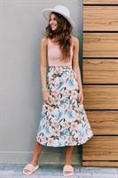 חצאית מעטפת הדפס פרח גדול עלים