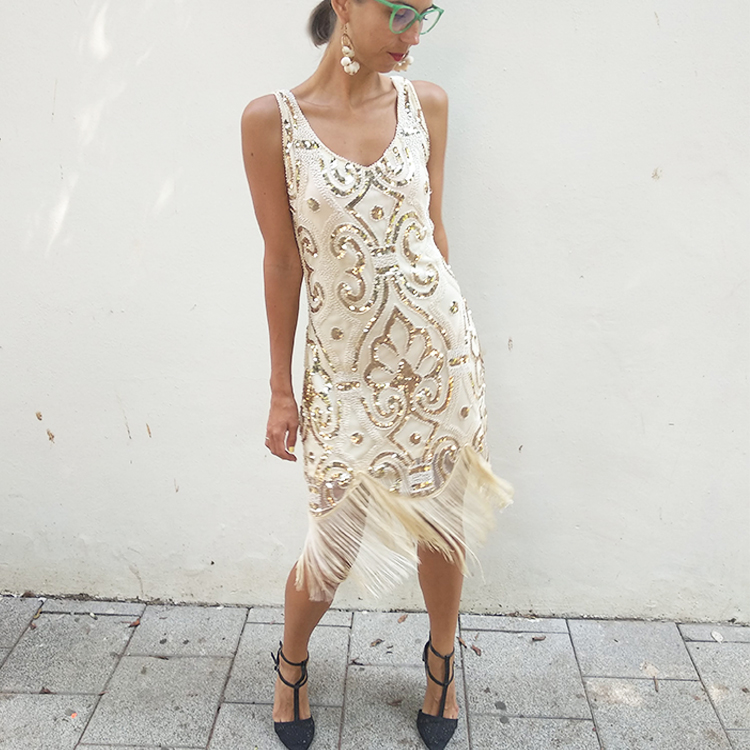 שמלת פרינג' קרם וזהב