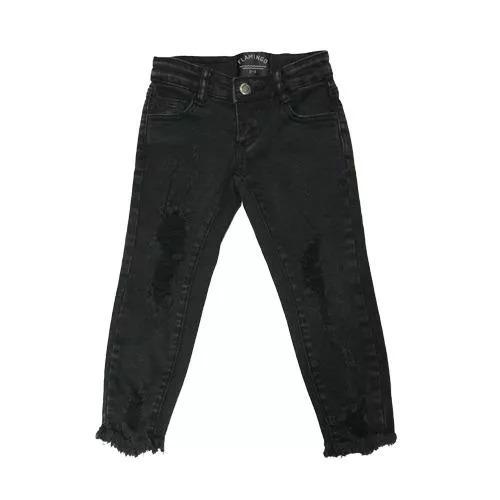 גינס שחור עם קרעים FLAMINGO