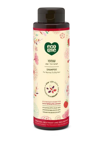 Ecolove  שמפו לשיער רגיל-שמן מתמציות אורגניות עגבניות סלק ופלפל אדום 500 מל