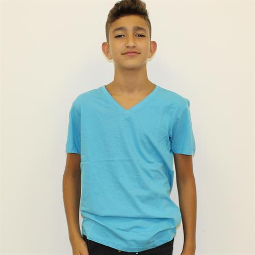 חולצת בית ספר בנים וי טורקיז